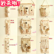 Blast loss Cotton Hemp Zakka storage fabric wall hanging bag type storage bag multi-layer gift-giving new products