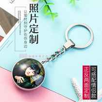 Custom Couple Photo Metal Double-sided Pendant Creative Star School Kids Custom-Made Private Key Fob