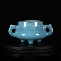 One-to-one carved wood-burning imitation dry long shadow blue glazed carved gold incense oven