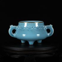 Один-к-одному резные дровяные имитации сухой длинной тени синий глазированные резные золотые ладан печь