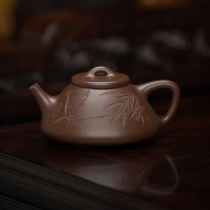 Collection grade research and high-tech Guoxiang original mine purple mud Zi stone ladle all hand-made 300cc Yixing purple sand teapot