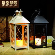Jutang tribe romantic warm retro European candlestick wedding home decoration iron electronic candlestick