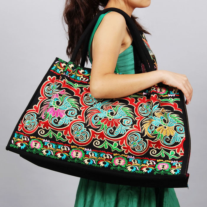 Womens Bag National Wind Embroidery Bag Totem Double-sided Embroidery Bag Womens One Shoulder Bag Large Bag