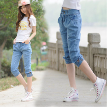 Europe size new stylish Korean summer Harlan stretch denim cropped jeans slim fashion and leisure riding breeches