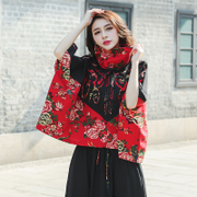 2017 autumn folk style large size women cotton blouse jacket retro cloak loose coat coat in autumn and winter