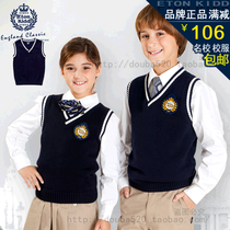 Gide Eton school boys girls Navy Blue v neck boys vest