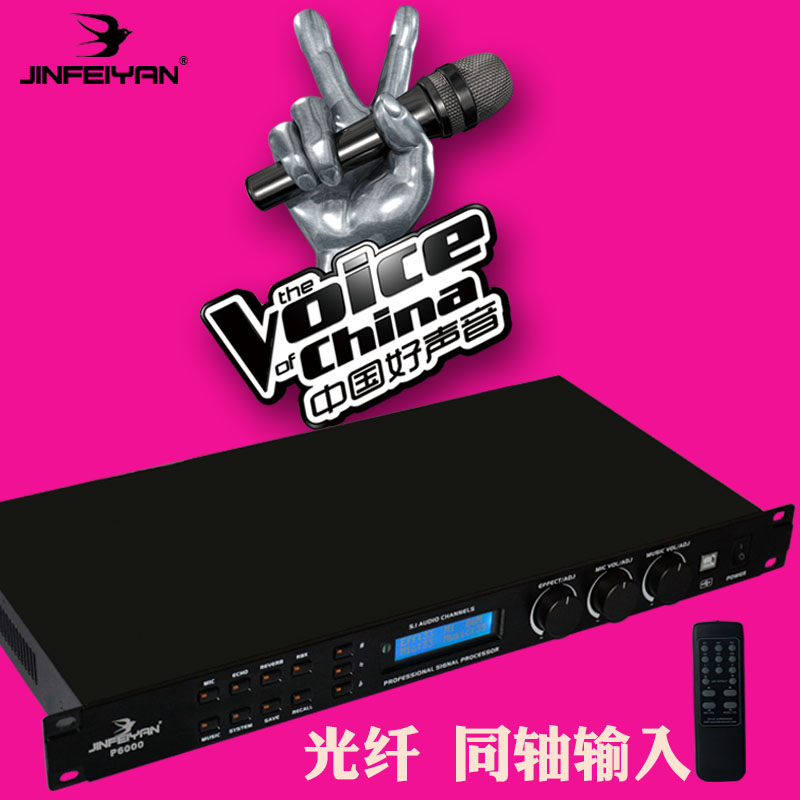 Golden Feiyan P6000 KTV Karaoke Anti-whistling Digital Front-stage Reverberation Effect Processor with Remote Control Equipment