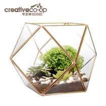 Can LTL crystal glass transparent mini flower house landscape DIY potted ecological metal border vase
