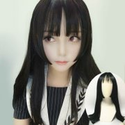 Unisex Black long straight hair wig cos received type hair dressing with animation Cosplay drag queen Jamal