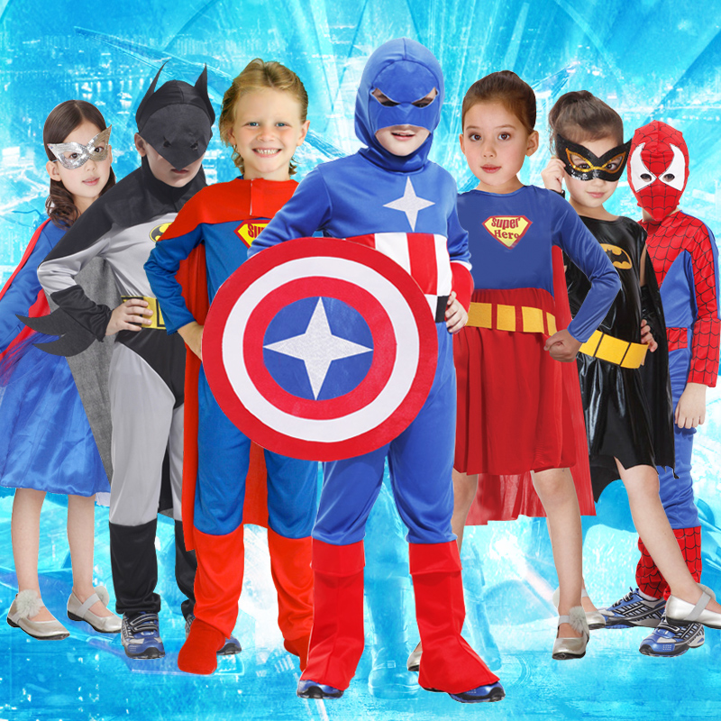 Halloween costume children perform Cosplay Spider-Man costume Batman captain of the United States