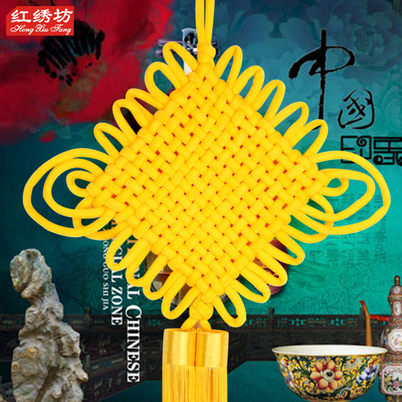Pure yellow Chinese knot and pendant, Fuzi household, manual living room, large Chinese style porch, decoration of China Festival new house