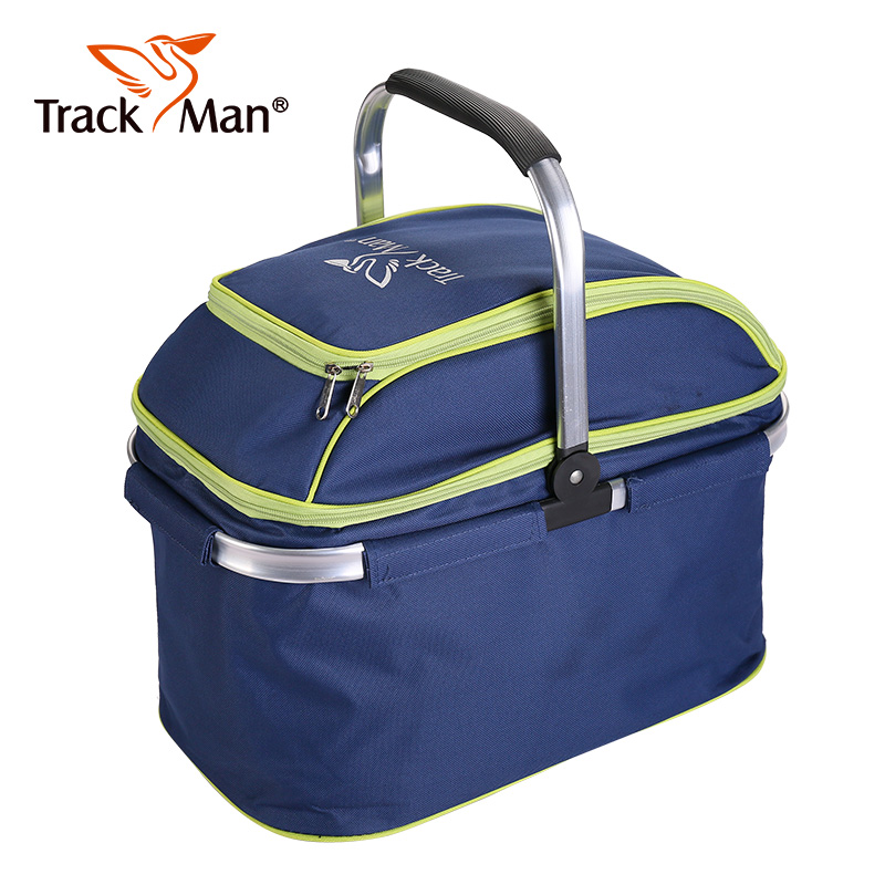 Trackman outdoor camping camping tourism portable folding picnic basket with lid shopping basket insulation package