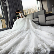 Wedding dress 2017 new bride married Korean luxury word shoulder long tail of self-cultivation thin thin Princess