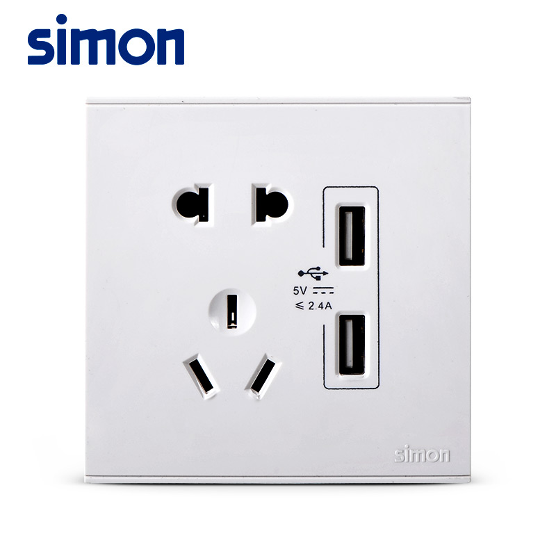 Simon E6 switch socket five holes with USB five-hole socket two three plug 86 type panel 5V charging socket