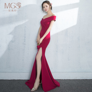 Toast the bride's 2017 new spring and summer term long shoulder length of the body of a woman to marry the evening dress