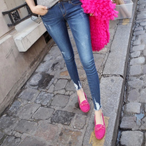 Zuoanruoan stretch ripped jeans womens trousers Burr Korean students left bank of nine minutes of pants Slim pants with bound feet