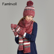 Hat scarf glove three piece female scarf knitted suit winter hats one birthday girl.