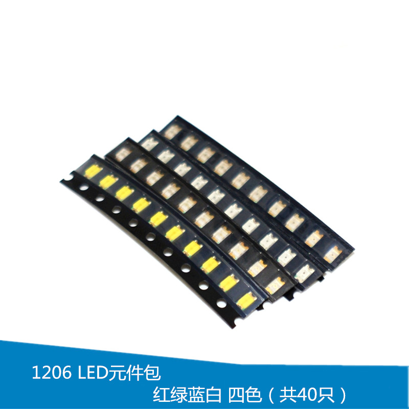 YUNGHUI 1206 LED Components Wrapped Red, Green, Blue and White Four-color (Total 40) SMD Light Emitting Diodes