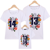 2018 New Korean version of Parent-child summer clothes a three short-sleeved T-shirt mother and daughter whole family 1314520
