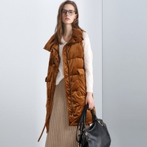 Fashion ring Ribbon full long coat in a warm gold velvet sleeveless down jacket female 27738