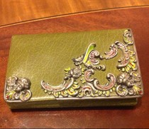 Courtyard Western Antique VTG exquisite sterling silver high relief rose little angel Green leather multi-layer Wallet