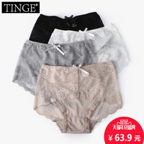 TINGE sexy lace fabric pants Ms. hollow hollow trousers in the waist waist to increase fat code mm