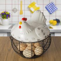 Panier doeufs en céramique panier de fruits ail pommes de terre débris bleu en céramique cuisine Décoration Creative poule de stockage de fer panier