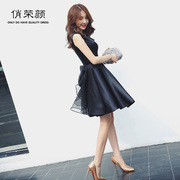 Evening dress 2017 new fashion black banquet short noble elegant thin princess dress show hostess