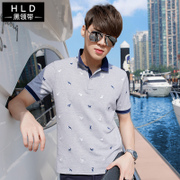 2017 summer men's short sleeved T-shirts Korean lapel collar polo shirt V collar fashion T-shirt shirt