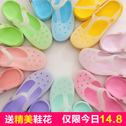 Hole shoes female summer students 2017 new Korean version of the anti cute jelly thick bottom beach Baotou sandals