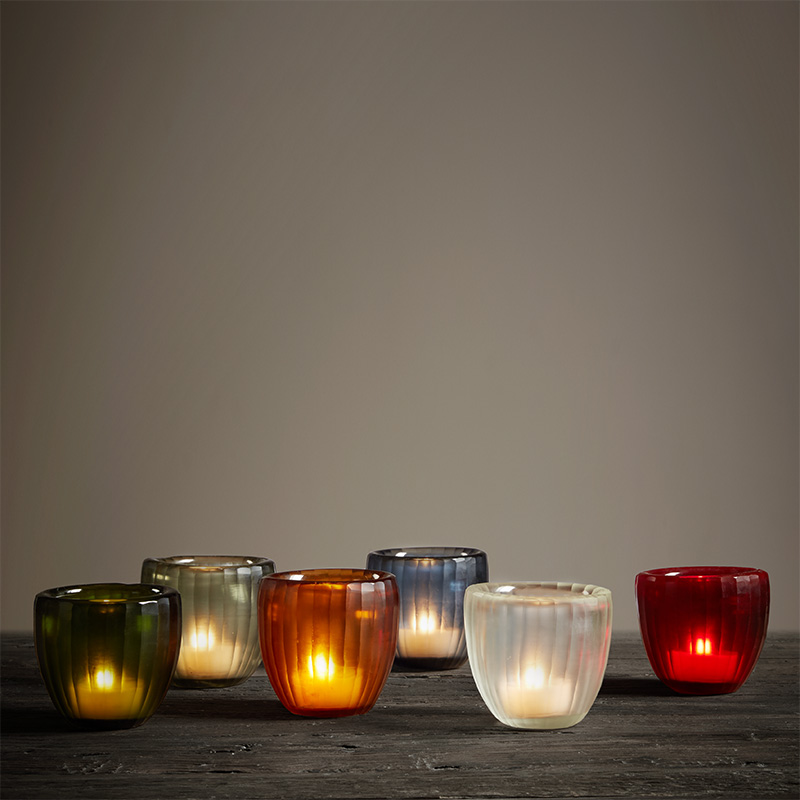 Tao Home Faye Vertical Grained Grinding Candle Cup India Imported Simple Jewelry Ornaments Artificially Grinded Glass Candle Cup