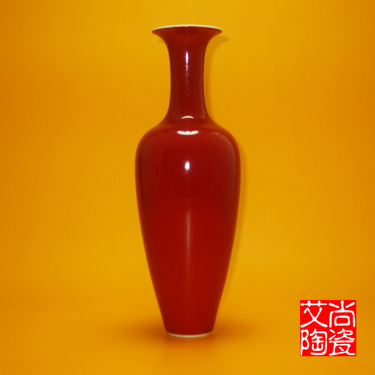 Decorative Decoration of Red Willow Leaf Bottle by Color Glaze Monochromatic Glaze for Jingdezhen Antique Porcelain Vase and Red Glaze Porcelain Bottle