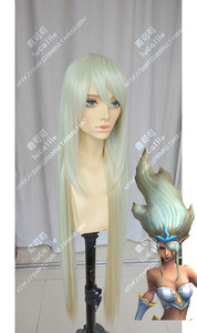 League of Legends Janna cosplay wig green sliver bhiner cosplay wig