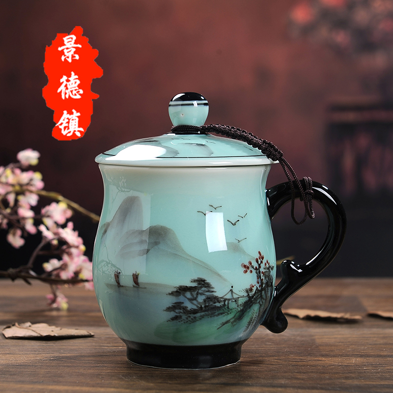 Jingdezhen Ceramic Cup with Cover Hand-painted Tea Cup Set Home Office Meeting Cup Personal Mark Water Cup Gift