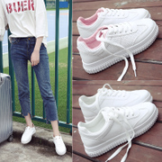 Spring and summer all-match white shoe lace student shoes Korean white canvas shoes soled shoes flat casual shoes