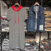 Europe Summer new jeans vest striped dress two piece casual hooded long paragraph sweater suit