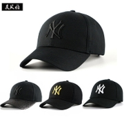 Korean baseball cap hat and sequins four pure black and white peaked cap shading leisure shopping cap