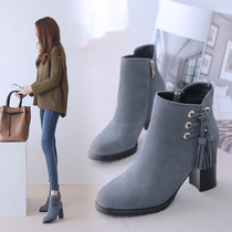 rough matte leather fringed boots female boots with a single round strap ankle boots single autumn and winter high-heeled leather boots naked boots Korean version