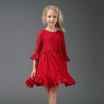 Girls red lace princess birthday parent-child mother and daughter wear