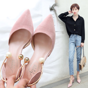 In the spring of 2017 new sheepskin tip heels shoes with a fine pearl all-match wedding shoes with cat ladies shoes