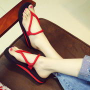 Fashion lady sandals summer sandals beach shoes pinch a couple outside the slope with thick soles wear non slip slippers