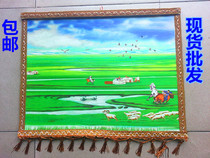 Inner Mongolia handicraft color felt painting grassland style wool painting Mongolian restaurant yurt decorative hanging Batch