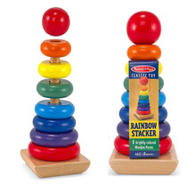 Large colorful tower stacked circle Rainbow Tower Rainbow Ring Baby early Education puzzle toys