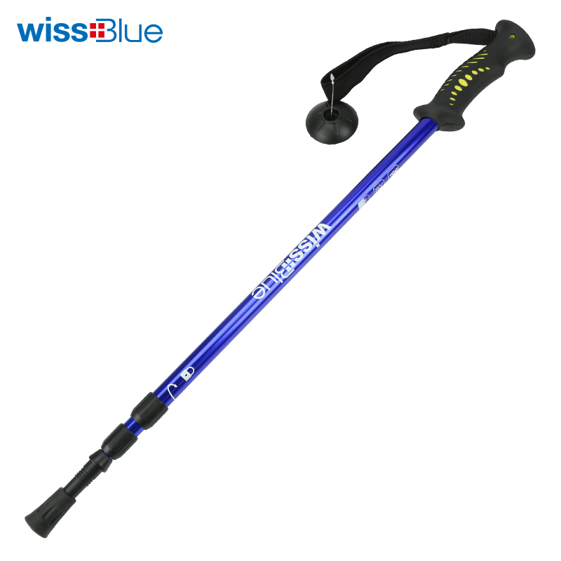 Ultra-light outdoor walking stick shock absorber Aluminum rod walking stick three-section expansion folding