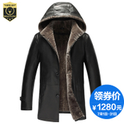 One man Pipimau sheep leather in the long hooded fur coat size male skin to overcome
