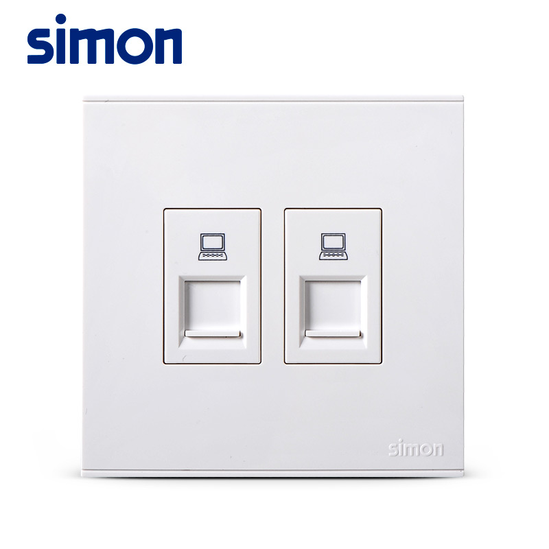 Simon 86 Dual Computer Broadband Port Network Wall Wire Socket Switchboard Double Information Port E6