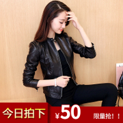2016 in spring and Autumn New Korean female motorcycle leather PU leather jacket collar short slim slim leather jacket