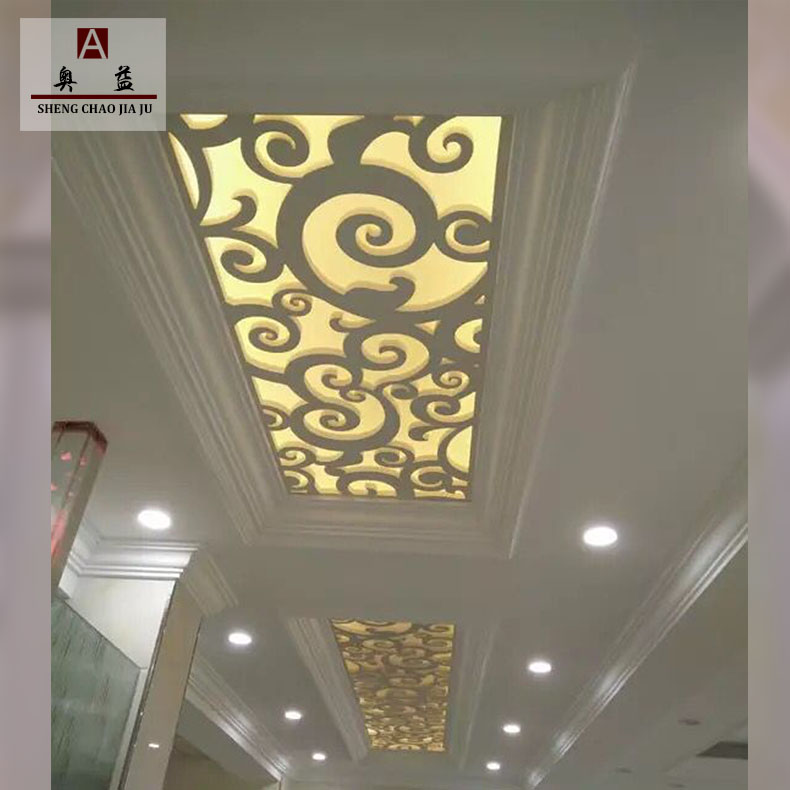 Carved board hollow decoration PVC ceiling wood plastic board television background wall European-style grid partition screen ventilation panels