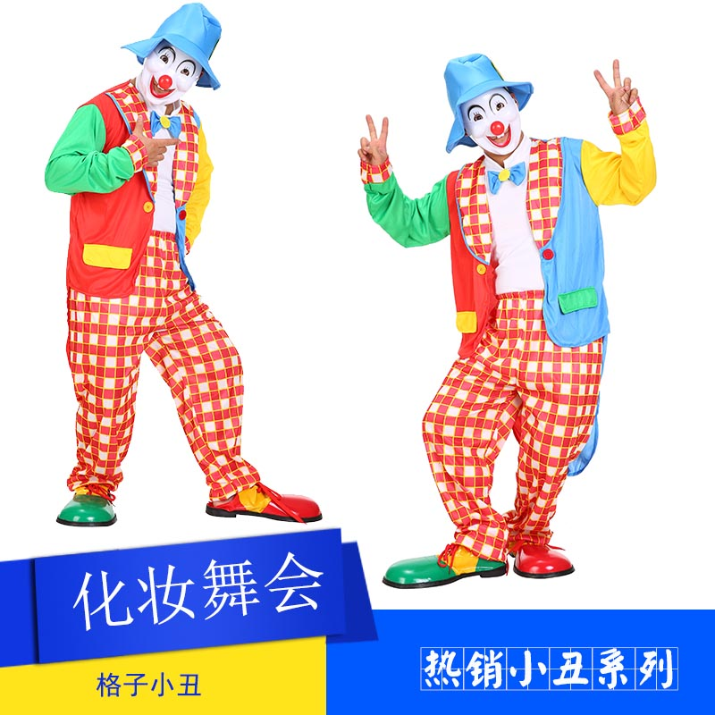 Cosplay Clothes,Halloween Clothes,cosplay clown show clothes swallowtail clown suit clown suit adult male plaid clown clothing