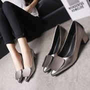 Spring shoes buckle with thick high-heeled woman with a low shallow mouth 2017 new all-match shoes.